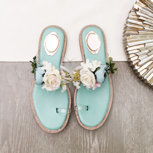 Bohemian Beach flower sequined rhinestone flat slippers summer sandals shoes