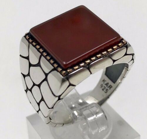 Aqeeq MEN/'S RING  USA SELLER K32M Stylish /& Unique 925K STERLING SILVER  AGATE