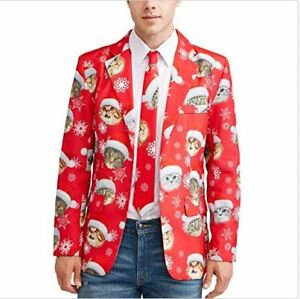 Christmas Sweater Suit.Details About New Men S Christmas Holiday Suit Jacket An Tie Ugly Sweater Party Red Kitty Cat