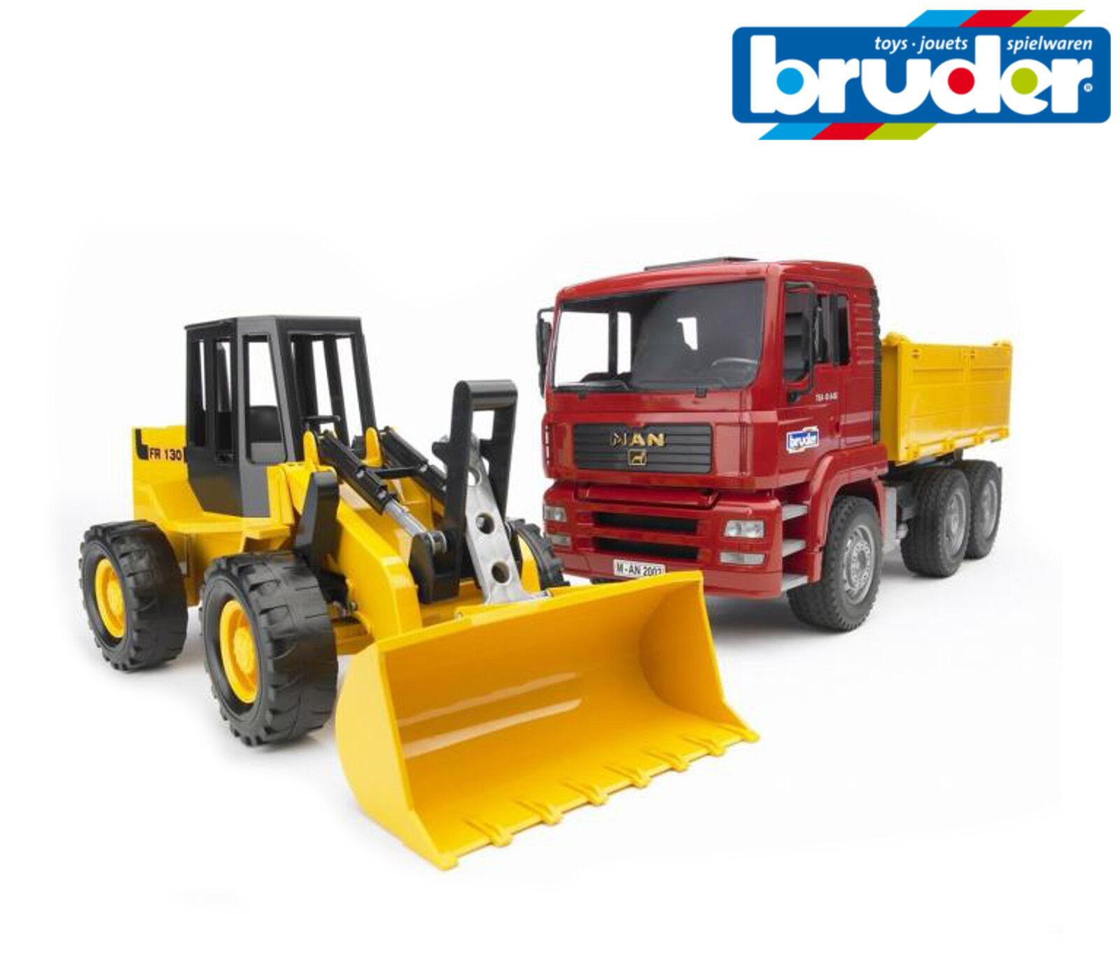 Bruder Toys 02752 MAN TGA construction benne de camion + Chargeuse échelle 1 16