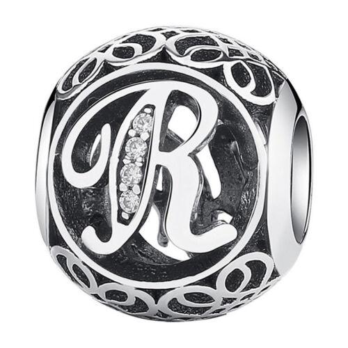 26 Letters 925 Silver CZ European Charm Beads Fit Bracelet Chain DIY Jewelry New