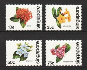 SINGAPORE-1980-FLOWERS-OF-S-039-PORE-COMP-SET-OF-4-STAMPS-SC-363-366-IN-MINT-MNH