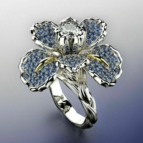 Wedding Party Two color Ring Rings Silver Gorgeous Flower for Women Size 6-10