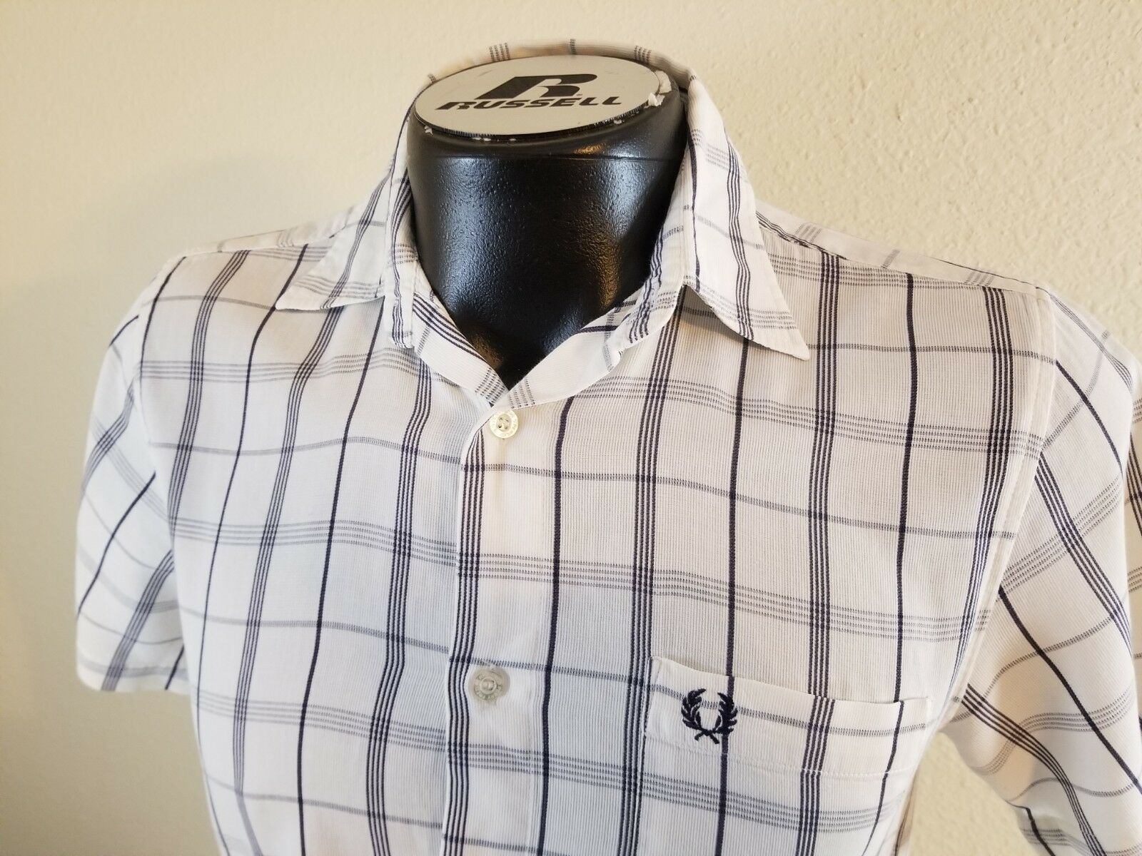 Fred Perry Men Short Sleeve Plaids White bluee Dress Casual Button Front Shirt S