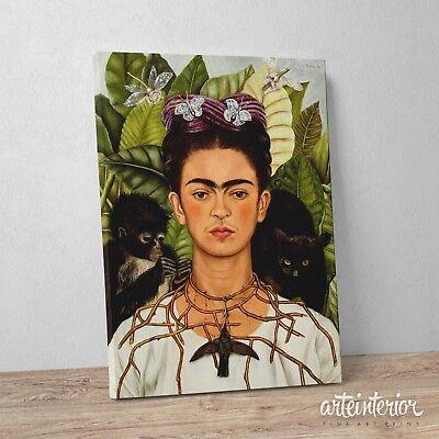 Frida Kahlo Stampa HR su tela Canvas Quadro Autoritratto con collana di spine