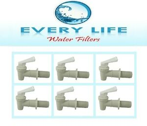 Spigot-6-Pack-White-Faucet-BPA-Free-with-Washers-and-Nuts-Size-3-4-inch