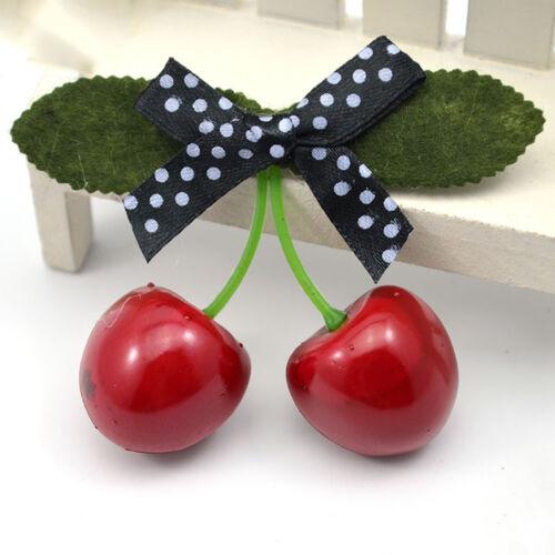 1x Vintage Cherry Bow Haarspange für Pinup Mädchen ZPockabilly Haar-Zubehör D*