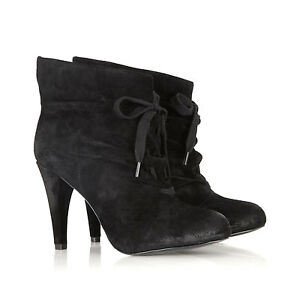 Womens-ASH-Honey-Suede-Ankle-Boots-BLACK-SUEDE-Booties-Sz-39-8-5-NEW