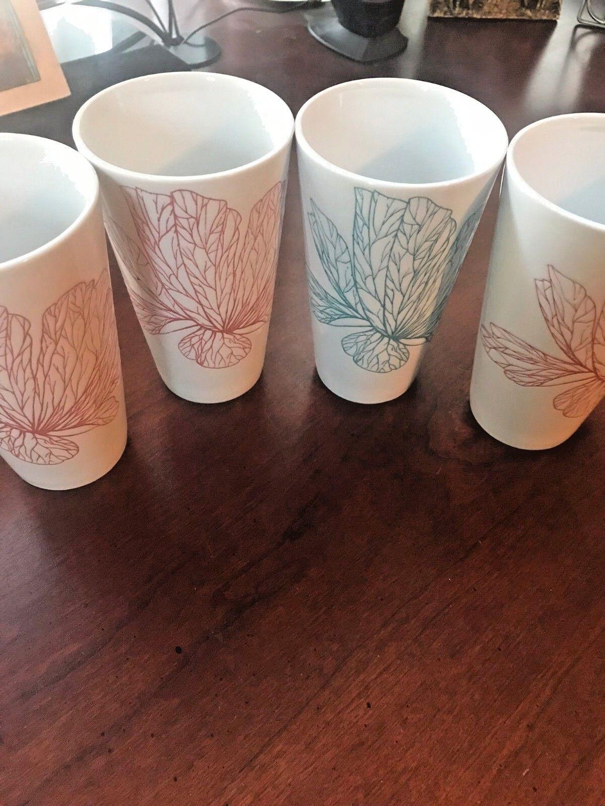 WORLD MARKET White with 1 flower 16 oz Ceramic Coffee Mug Cup set of 4