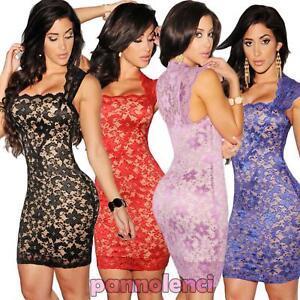 huge discount 4991c e99d5 Dettagli su Miniabito donna vestito mini abito pizzo effetto nudo party  elegante DL-1288