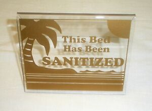 """This Bed Has Been Sanitized Acrylic Tent Sign 3.5 x 4.5"""" Gold"""