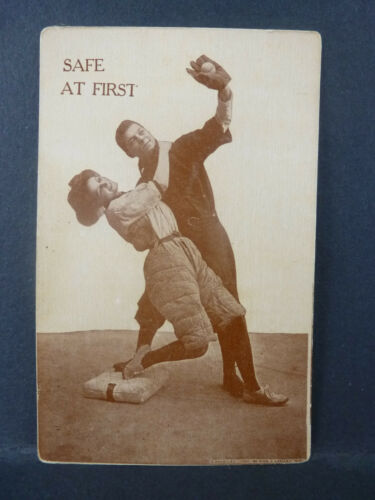 1910 Safe at First Baseball Postcard