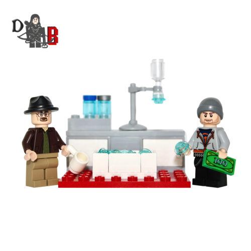 Custom Breaking Bad Walter /& Jesse Minifiguras Con Lab hecho Con Piezas Lego.