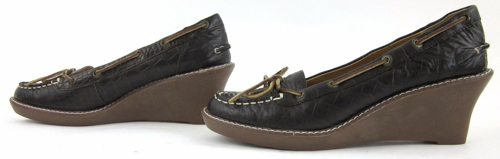 Sperry Top-Sider Wedges Boat Shoe Shoe Boat Style Brown Pelle Sz 7M Worn 1X! bba239