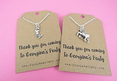 Unicorn or Mermaid 1 x Girls Party Bag Thank You Personalised Card Necklace
