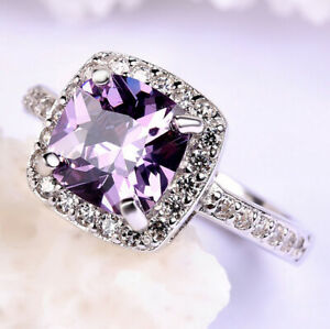 Women-039-s-925-Sterling-Silver-Purple-Stone-Wedding-Engagement-Adjustable-Ring-R203