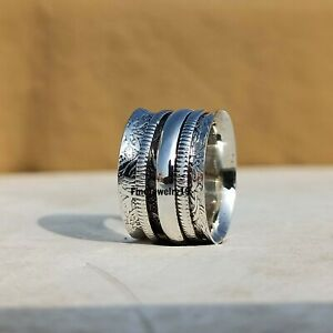 925-Sterling-Silver-Spinner-Ring-Wide-Band-Meditation-Statement-Jewelry-A370