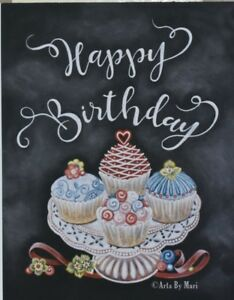 Image Is Loading Handmade Birthday Card Cupcakes Hand Drawn With Chalk