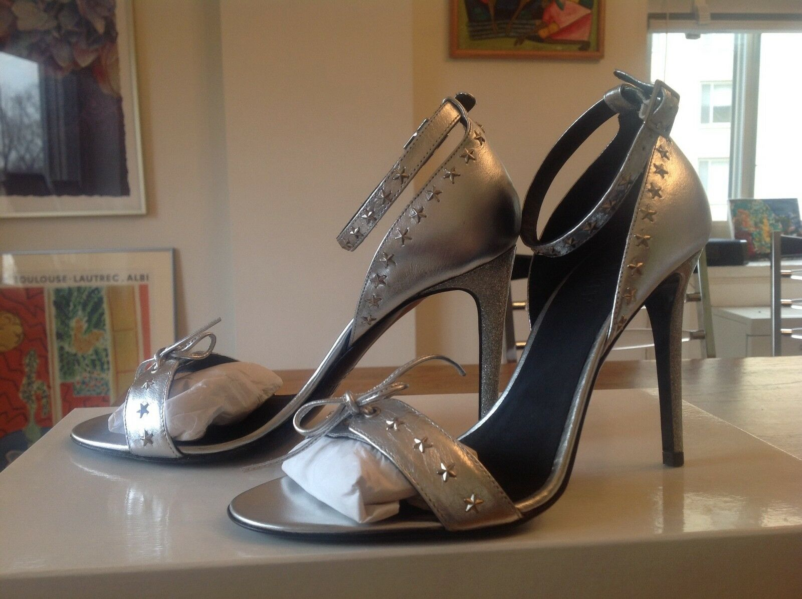 Rodarte Rodarte Rodarte chaussures in argent Leather with Star Studs Taille 37 US7 NWB 075246
