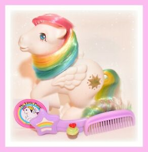 My-Little-Pony-G1-Vtg-Rainbow-Ponies-STARSHINE-Pegasus-amp-Original-Brush-Comb