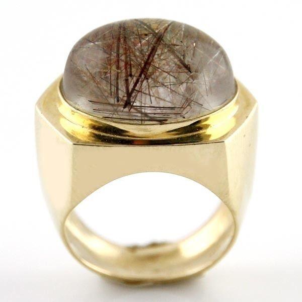 New 14k Yellow gold 20ct Rutile Quartz Ring