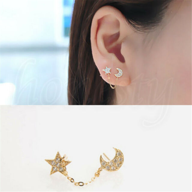 2x Inlaid Full Crystals Moon Star Chain Piercing Earrings Single Ear Double Hole