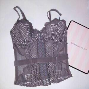 e245d09424e7d Details about Victoria Secret Lingerie Bustier Corset Boned Taupe Lined  Cups Lace Sheer