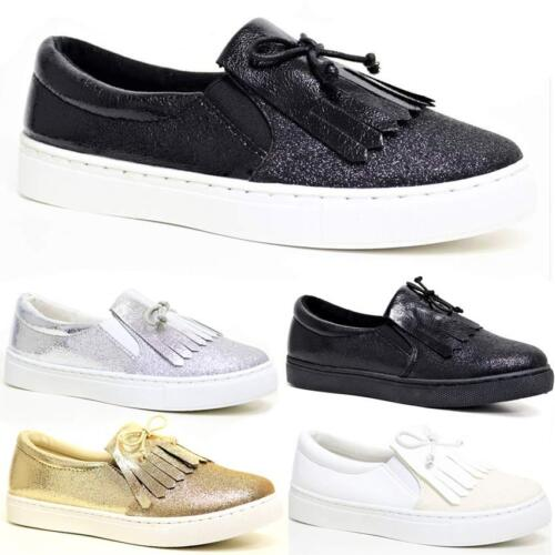 Ladies Womens Flat Slip On Bow Pom Pom Loafer Pumps Skate Fashion Trainers Shoes