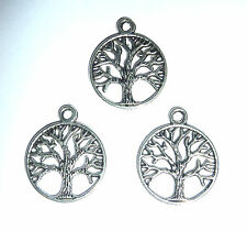 3 x TREE OF LIFE IN CIRCULAR FRAME  SPIRITUAL CHARM 20mm SILVER  COLOUR