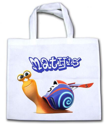 Sac shopping cabas Turbo l/'escargot personnalisé avec prénom V1