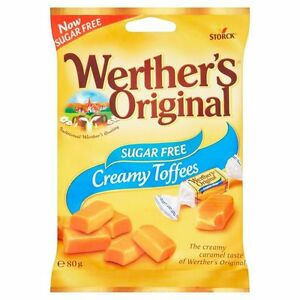 Details About WERTHERS ORIGINAL SUGAR FREE CREAMY TOFFEES 12 BAGS Birthday Gift Vegetarian