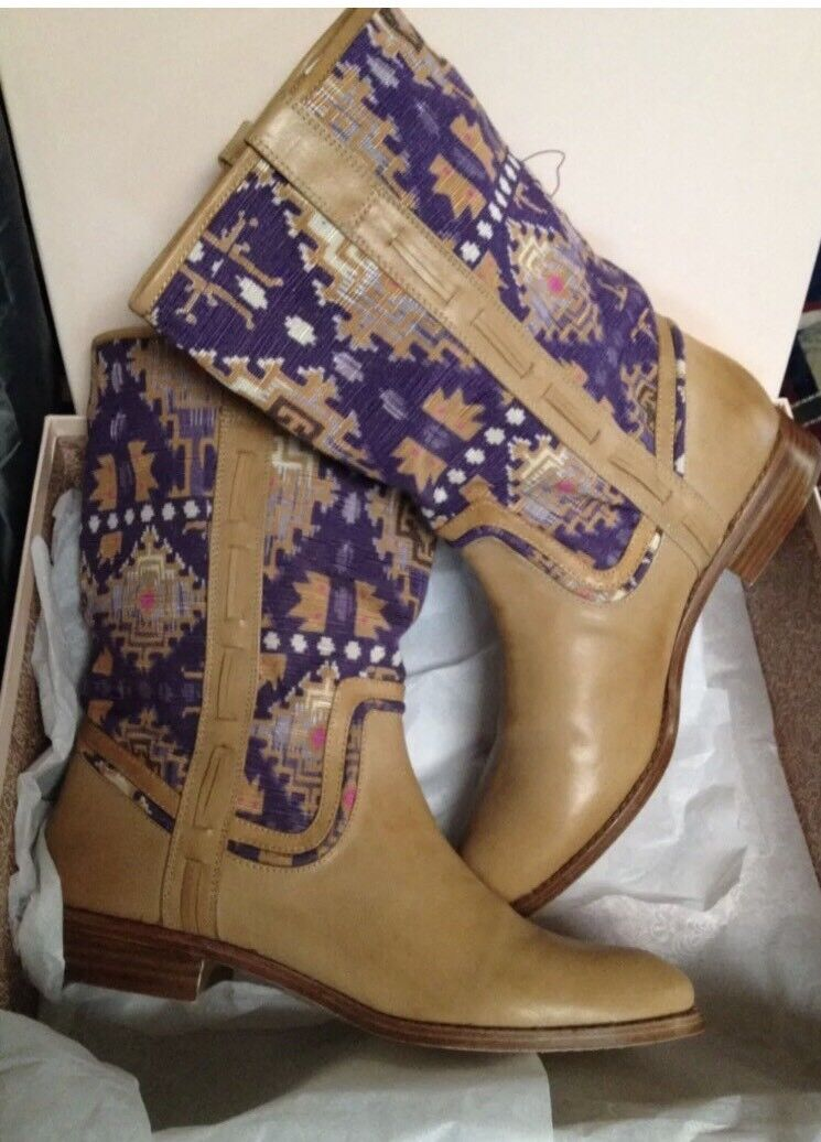 Ella Moss Renee Western Boots, Caramel leather purple fabric 7.5 M US