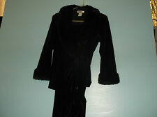 Patra fake fur and pant set petite 10 stretch velvet formal