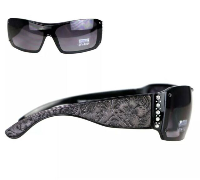 d73e7081f28 Montana West Sunglasses Rhinestones Vintage Floral Leather Tooling UV400  BLACK