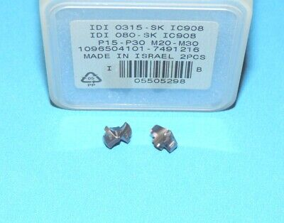 """* 2 PIECES * 0.339/"""" // 8.6mm ISCAR IDI 0339 SG IC908 Carbide Drill Tip Inserts"""
