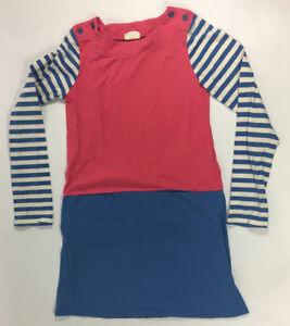 Mini-Boden-Girls-Size-10-11-Long-Sleeve-Dress-Pink-Stripe-Blue