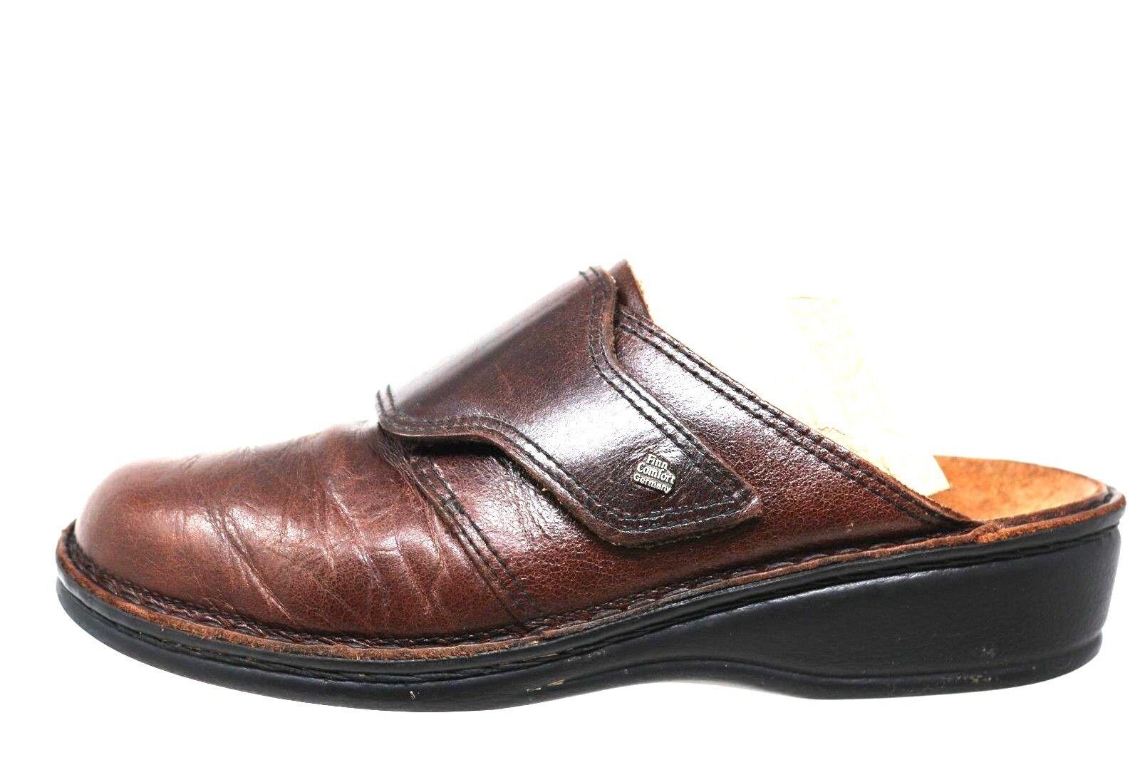 Finn Comfort Aussee braun Leather Hook Loop Footbed Clog damen Größe 38-7 7.5