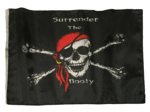 "12x18 12/""x18/"" Jolly Roger Pirate Surrender The Booty Sleeve Flag Boat Car Garden"