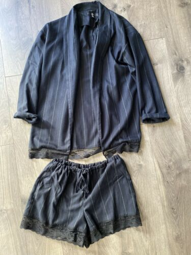 Navy Stripped Lace Hem Detail Tailored Shorts And