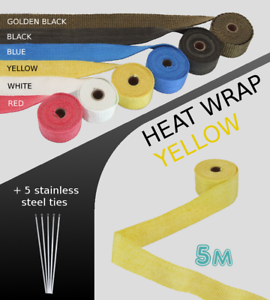 UNIVERSAL-CAR-BIKE-EXHAUST-HEAT-WRAP-with-ties-5-METRE-YELLOW-5M-YEL-VLV1