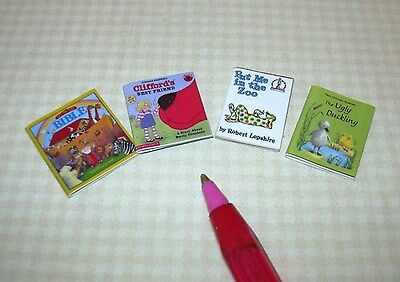 Miniature 4 Children/'s Classic Books Various Titles, Set #5 DOLLHOUSE 1:12