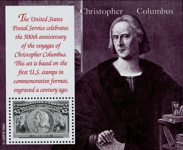 1992 $5 Christopher Columbus, Souvenir Sheet of 1 Scott
