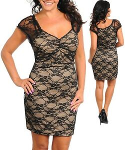 Ladies-Women-Cap-Sleeve-Cocktail-Party-Black-Tan-Lace-Stretch-Dress-Size-14-NEW
