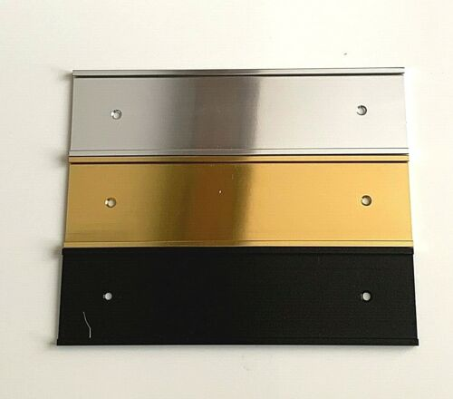 "Wall Name Plate Holder Silver Black 2/"" x 8/""Gold"