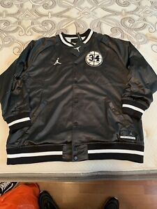 8c734d628b4a Nike Air Jordan He Got Game Retro Satin Varsity Jacket Black White ...