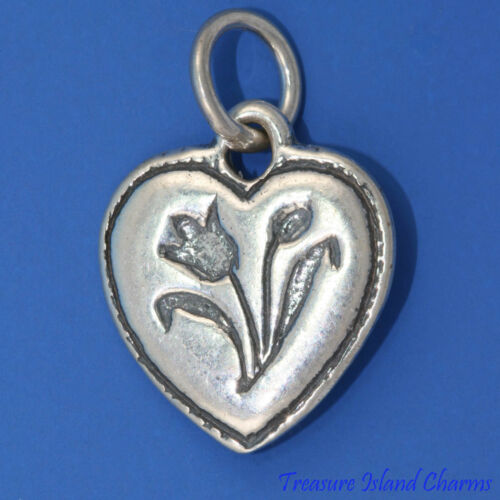 Coeur avec tulipe fleur .925 Solid Sterling Silver Charm pendentif made in USA