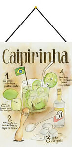 Caipirinha-Recipe-Cocktail-Shield-with-Cord-Tin-Sign-7-7-8x11-13-16in-FA0217-K