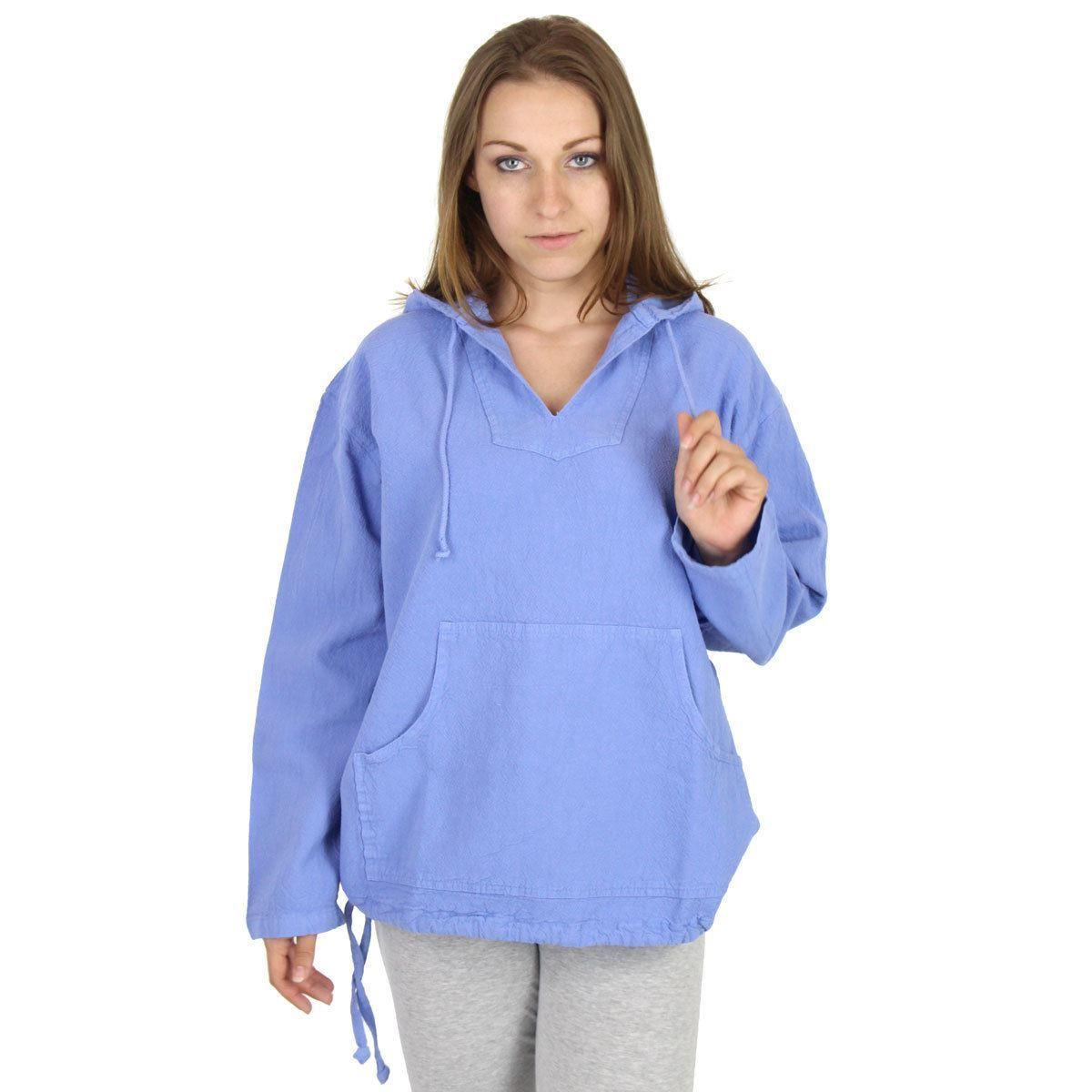 Womens Crinkle Cotton Kangaroo Hoodie - 100% Cotton - Made in USA