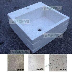 Lavandino in graniglia di marmo foro rubinetto bagno acquaio lavello cm50 65 90 ebay - Rubinetto lavandino bagno ...