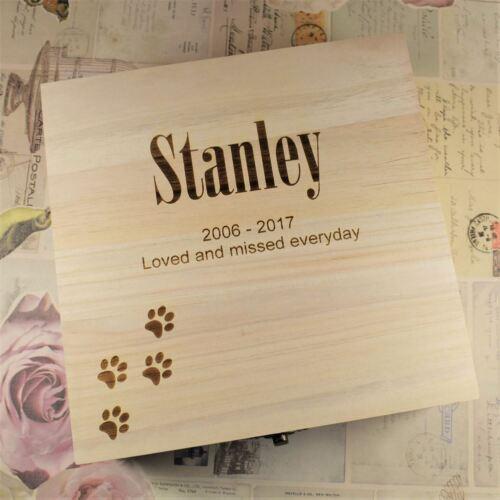 Personalised Pet Memorial Box Memory Box Wooden Keepsake Box Ashes Casket Paws